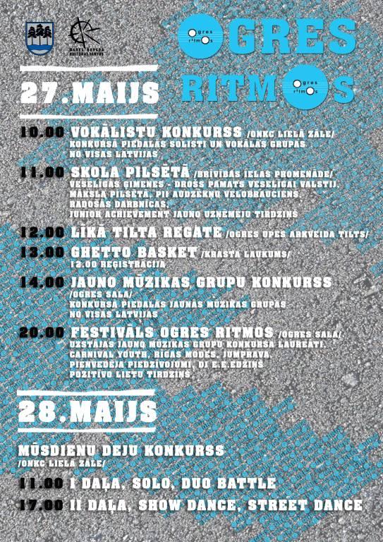 """No 27. – 28. maijam festivāls """"Ogres ritmos"""""""