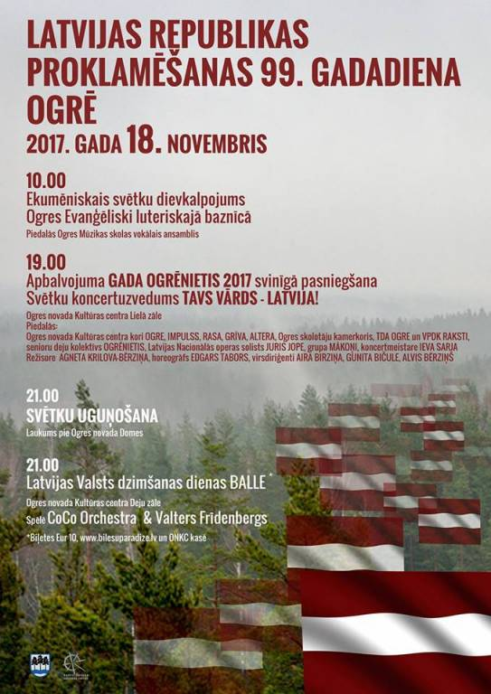 18. novembris – Latvijas Republikas proklamēšanas 99. gadadiena Ogrē