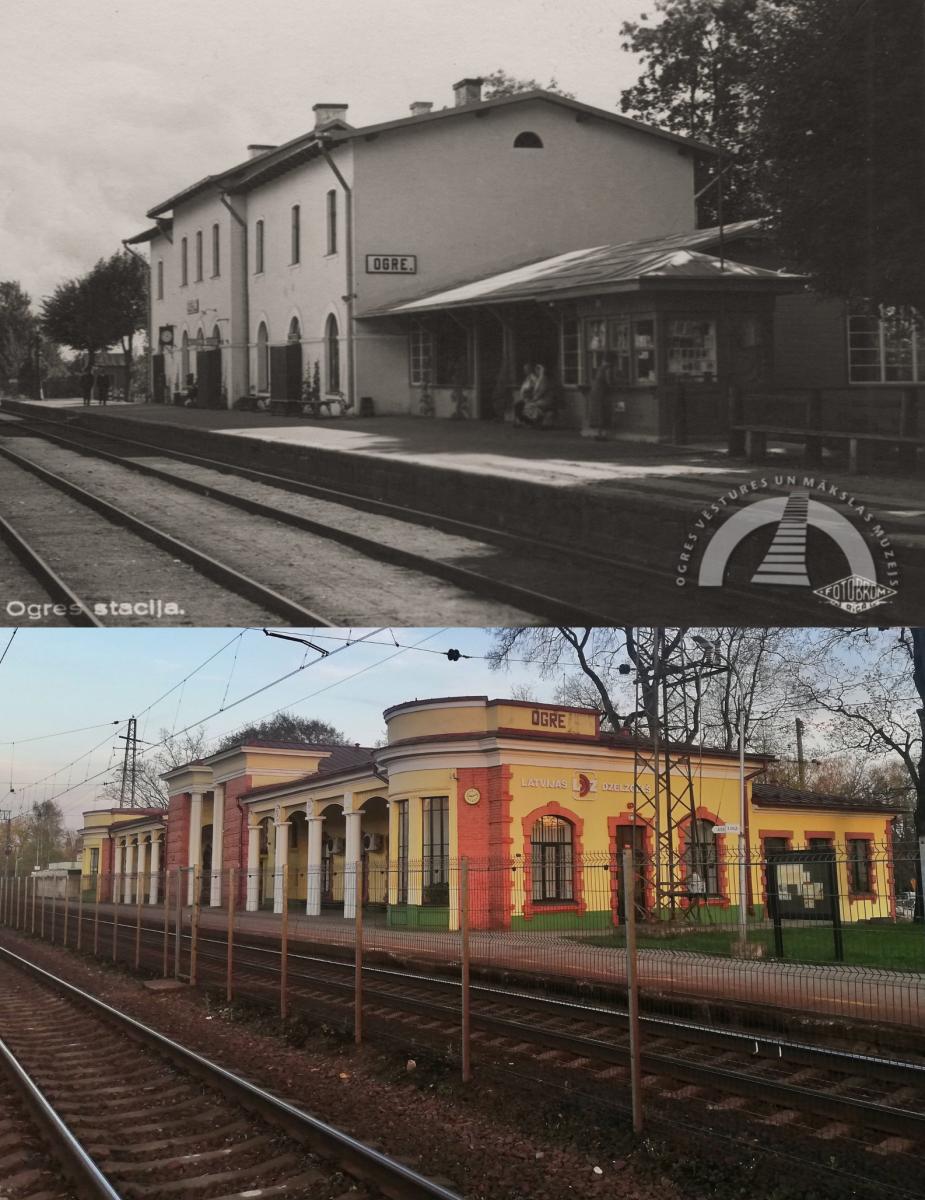 Ogres mobilajā aplikācijā pieejamas arī vēsturiskās fotogrāfijas. Ogres stacija